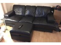 3 Seater Leather Sofa with Leather Footstool & leather care kit!!