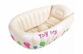 TINY TOTS INFLATABLE BABY BATH TUB, TRAVEL INFANT WASHING TUB