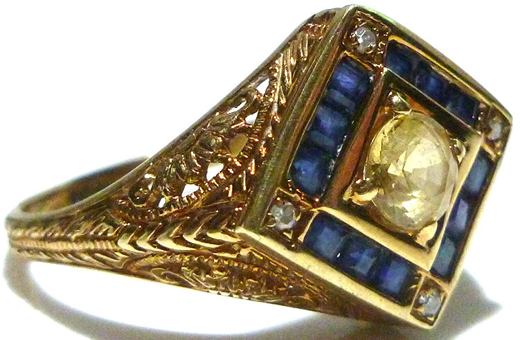 "SZ8 DESIGNER ""PDN"" ORNATE 14K YELLOW GOLD FILIGREE SAPPHIRE DIAMOND CITRINE RING"