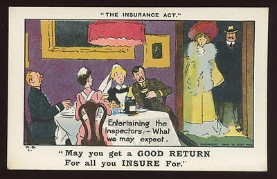 Political THE INSURANCE ACT Inspectors Comic satire PPC c1905