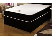 Black 4FT6 Double Divan Bed Set, Thick memory foam mattress. Free delivery