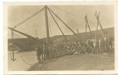 WWI postcard troops constructing a pontoon bridge