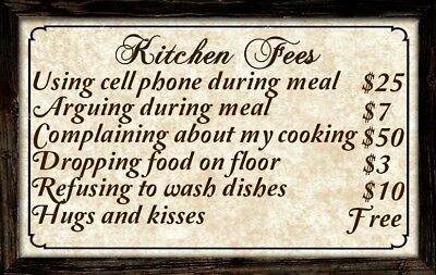 Kitchen Sign Decor ((Kitchen Fees) sign, wall decor, rustic, complaints, cooking, eating, food,)