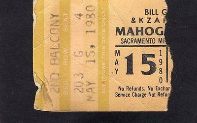 1980 Mahogany Rush Concert Ticket Stub Sacramento Frank Marino