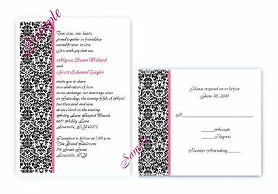 - 100 Personalized Custom Damask Black Pink Bridal Wedding Invitations Set