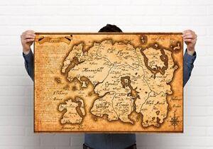 Tamriel Empire Map, Elder Scrolls, Morrowwind, Print, A3 size 11.7 x 16.5 in
