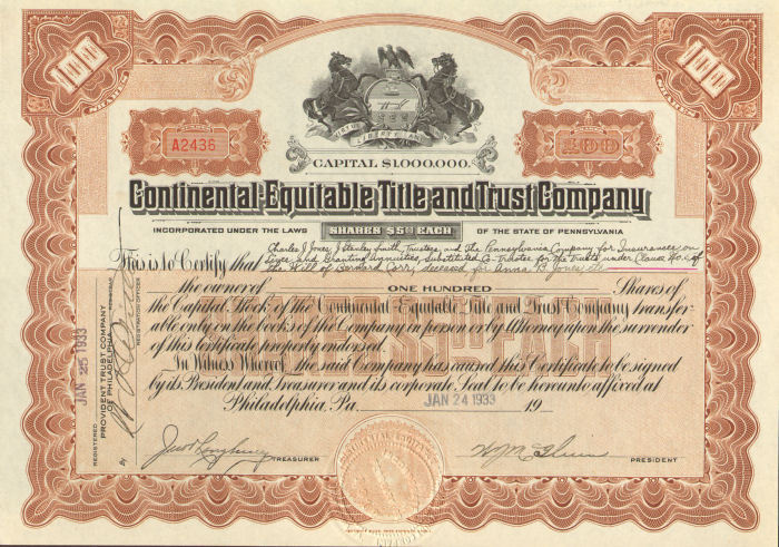 Continental Equitable Title and Trust Company > Pennsylvania stock certificate