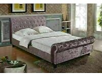 BEST SELLING BRAND FULLY CRUSHED ATRIAL SLEIGH DOUBLE-KING SIZE BED FRAME & MATTRESSES