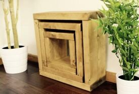 Dotsero Rustic Cube 3 Piece Nest of Tables selling at £100