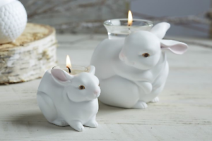 PartyLite Nature's Love Mama Rabbit and Baby Bunny Candle Holder Set.
