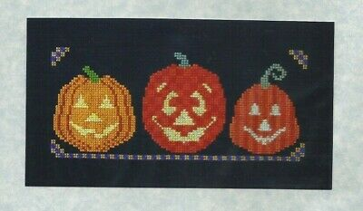 PUMPKIN TRIO--Halloween-Jack 0' Lanterns-All Smiles-Counted Cross Stitch Pattern - Pumpkin Patterns Halloween