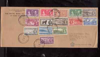 Newfoundland 1937 FDC 1st day cover to England KGVI coronation stamps long set