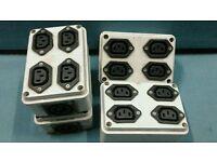 Bulgin to 4 x iec adapter boxes
