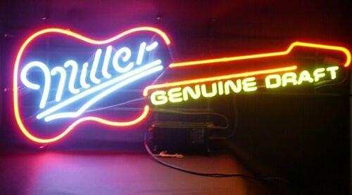 RARE Vintage MILLER Genuine Draft Beer NEON GUITAR Bar Sign - PICK UP ONLY!