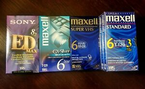 Factory sealed brand new Maxell and Sony VHS tapes