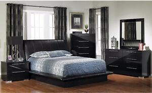 King size black bed set