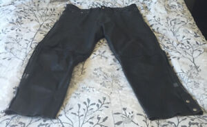 Heavy duty leather motorcycle over pants