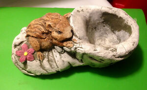 Stone Planter / Statue - squirrel on shoe