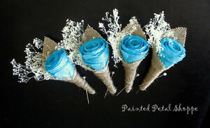 Coffee Filter Rose Boutonniere/Rustic Teal Wedding Boutonniere Belleville Belleville Area image 4