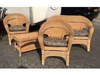 4 PIECE WICKER SUITE / CONSERVATORY FURNITURE / CHAIRS, TABLE