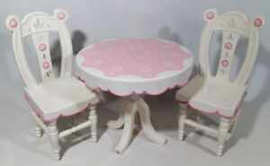 Tea Party Miniature Doll Chair and Table Pink and White Plastic