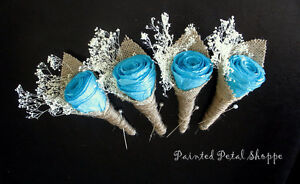 Coffee Filter Teal Rose Boutonniere/ Rustic Wedding