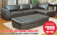 Julia 3pc Sectional Sofa Set, $999 Tax Included!