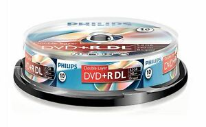 Philips DVD+R DL 240 Min 8.5GB 8x Speed Recordable Blank Discs - 10 Pack Spindle