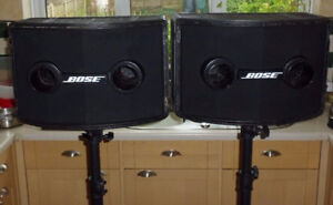 Bose 802 speakers with controller and stands