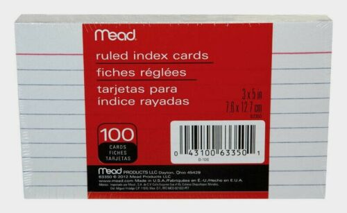 """Mead Ruled INDEX CARDS 5"""" x 3"""" 100 count Acid Free Flashcards Speeches Notes NEW"""
