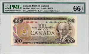 1975  $100 Bank of Canada Banknote, GEM UNC , Perfect Bill