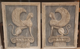 Two Hand Paint Sphinx Pictures,distressed frames included
