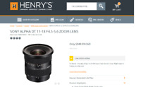 Used SONY ALPHA DT 11-18 F4.5-5.6 ZOOM LENS SAL 1118