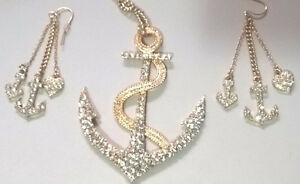 Anchor Necklace Earring  Set with Rhinestone