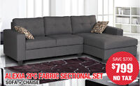 Alexia 2pc Fabric Sectional, $799 Tax Included!!!