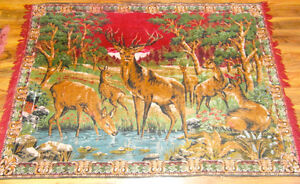 Vintage Mid Century Wild Life Deer in Forest Wall Area Rug