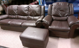 Brown Leather 3 Seater Sofa, Recliner/Swivel/Rocking Chair and Stool