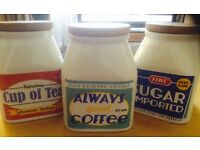 Set of 3 retro caddys, canisters, storage