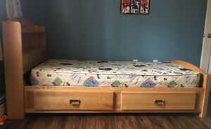 Solid birch captains bed twin