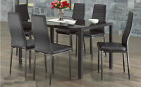 ★LORD SELKIRK FURNITURE - CONTRA 7 PC DINING SET - BLACK / WHITE