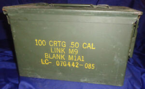 Canadian Military Surplus Metal Ammunition Ammo Box 50 CAL NOS