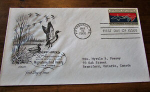 1966 Migratory Bird Treaty 5 Cent First Day Cover Kitchener / Waterloo Kitchener Area image 4
