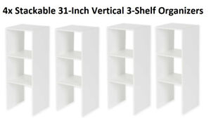 Set of 4 Stackable 31-Inch Vertical 3-Shelf Organizers