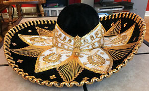 AUTHENTIC MEXICO HARD BRIM PIGALLE SOMBRERO BLACK VELVET w/GOLD