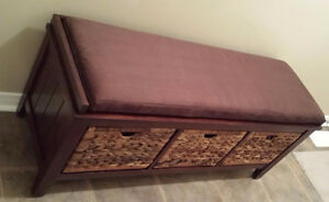 Wicker Bench Expresso 3 drawers $100 London Ontario image 1