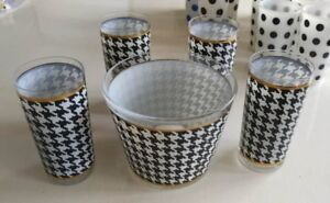 Retro 4 Houndstooth glasses with Ice Bucket  Check it out!