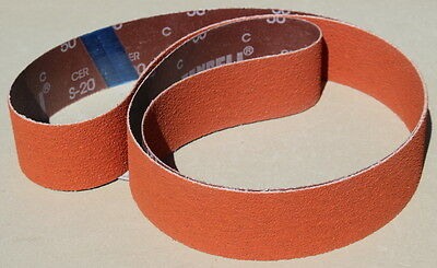 "2"" x 72"" Orange Ceramic S-20 P120 Grit Sanding Belts - 3 Belts"