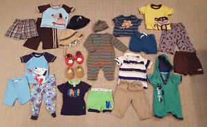 Baby Boy 6-12 month summer PJs, clothes, 2 hats, & Robeez shoes!
