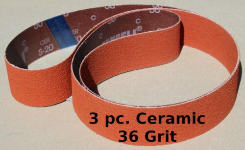 "2"" x 72""  36 Grit Fast Cut Ceramic Sanding Belts  3 Belt Pack"