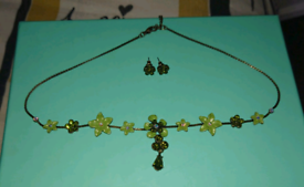 Green Floral Choker Necklace & Earring set